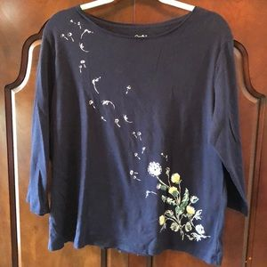 Dandelion 🌬🌼 3/4 sleeve top Navy Blue XXL